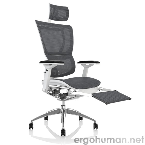 Mirus Grey Mesh Office Chair with Leg Rest