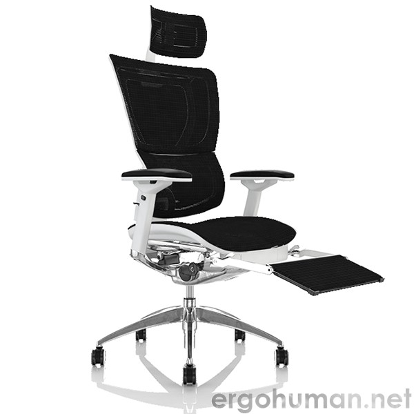 Mirus White Frame Office Chair with Leg Rest